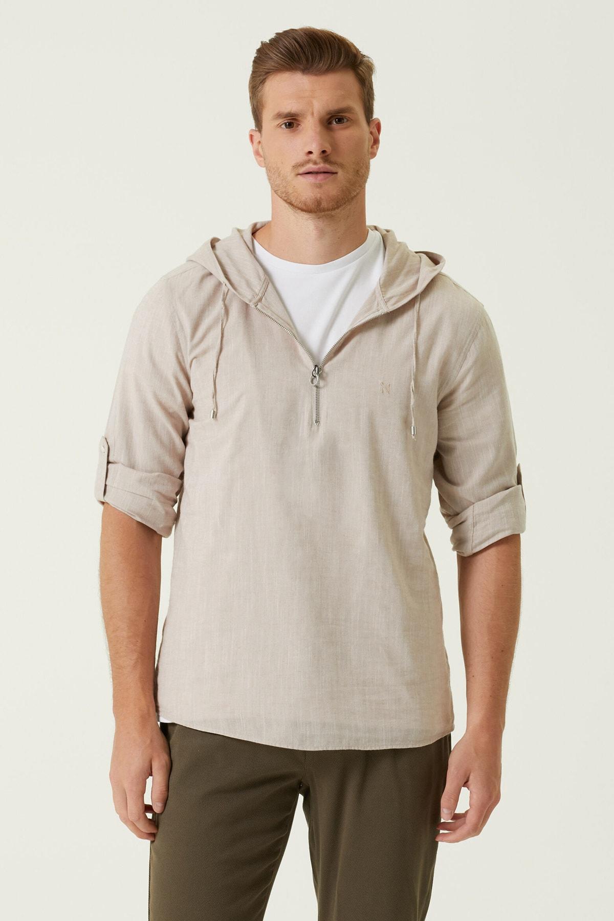 Erkek Slim Fit Bej Kapüşonlu Gömlek 1079715