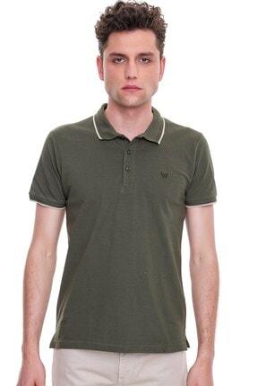 Erkek Polo Yaka Yeşil Renk Tişört Son Moda T Shirt 21YC018010705