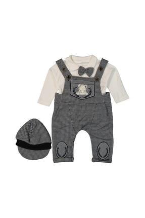 Murat Baby Papyonlu Şapkalı Pötikareli Gri Salopet Takım 0