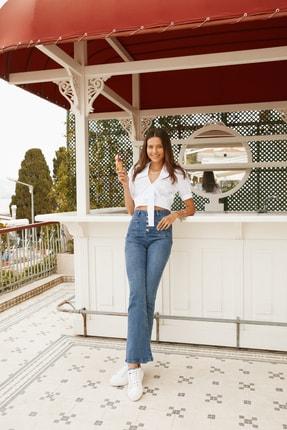 TRENDYOLMİLLA Mavi Cep Detaylı Önden Düğmeli Yüksek Bel Flare Jeans TWOAW21JE0111 0