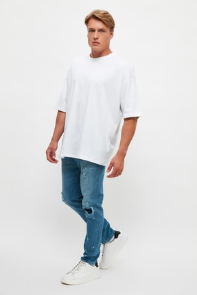 Picture of Açık Mavi Erkek Yırtık Detaylı Baskılı Normal Bel Carrot Fit  Jeans TMNSS21JE0189