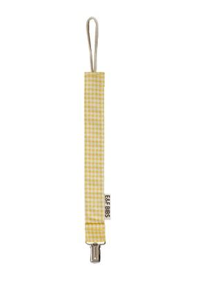 e&f Store Sarı Pötikare Emzik Askısı - Sertifikalı Kumaş Pamuk Bağcıklı Emzik Zinciri 1