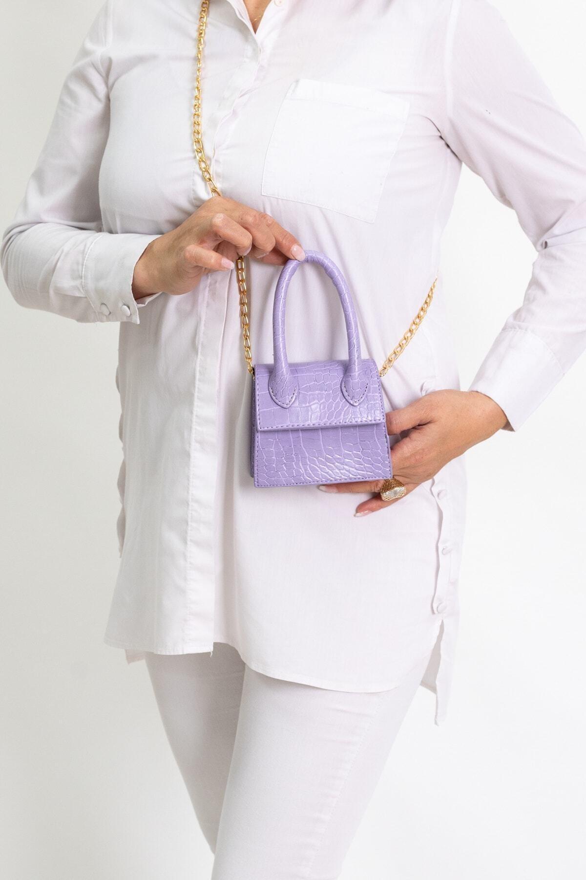 Kadın Lila Mini Zincirli Kemerli Çanta