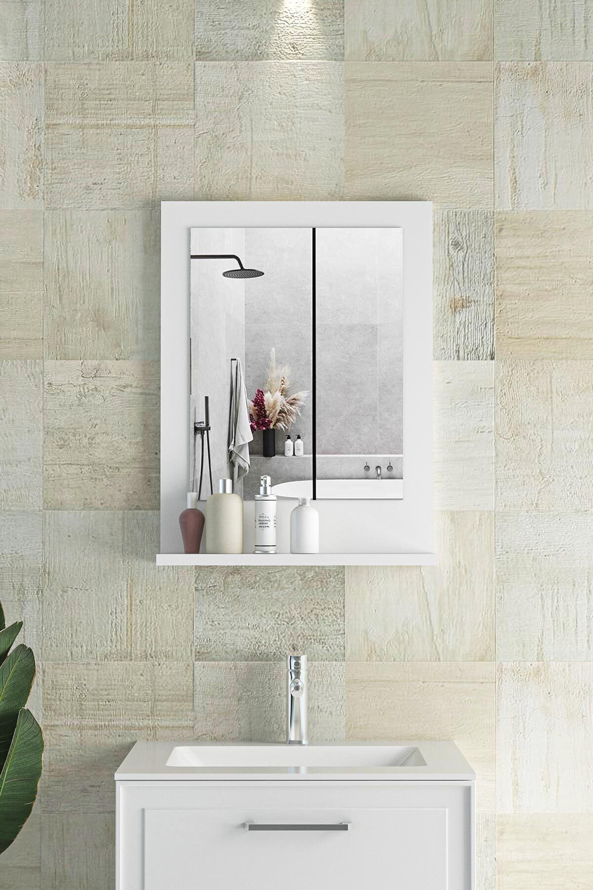 Verona 45x60cm Beyaz Raflı Banyo Aynası