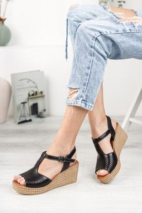 Deripabuc Hakiki Deri Siyah Kadın Dolgu Topuklu Deri Sandalet Dp55-2626 0