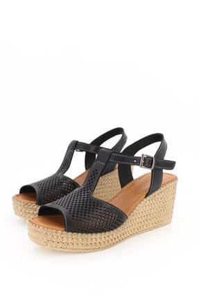 Deripabuc Hakiki Deri Siyah Kadın Dolgu Topuklu Deri Sandalet Dp55-2626 3