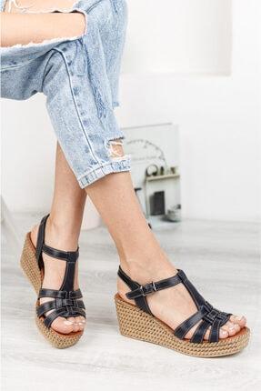 Deripabuc Hakiki Deri Siyah Kadın Dolgu Topuklu Deri Sandalet Dp55-2617 0