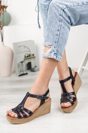 Deripabuc Hakiki Deri Siyah Kadın Dolgu Topuklu Deri Sandalet Dp55-2617 1