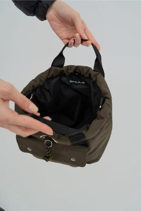 Shule Bags Kabartmalı Puf Kumaş Çapraz Çanta Palermo Haki 4