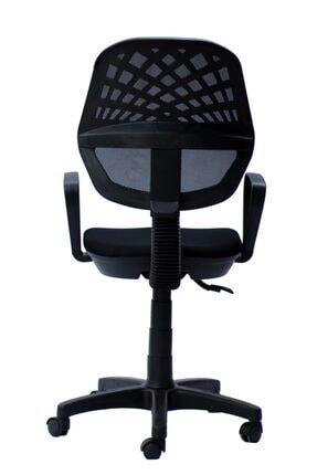 TOMAR Fileli Kollu Personel Koltuğu Ofis Koltukları Büro Bilgisayar Koltuğu Sekreter Sandalyesi - Siyah 3