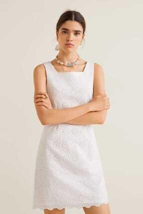 Picture of Kırık Beyaz Işlemeli (ek Saç Tokası)) Kısa Elbise