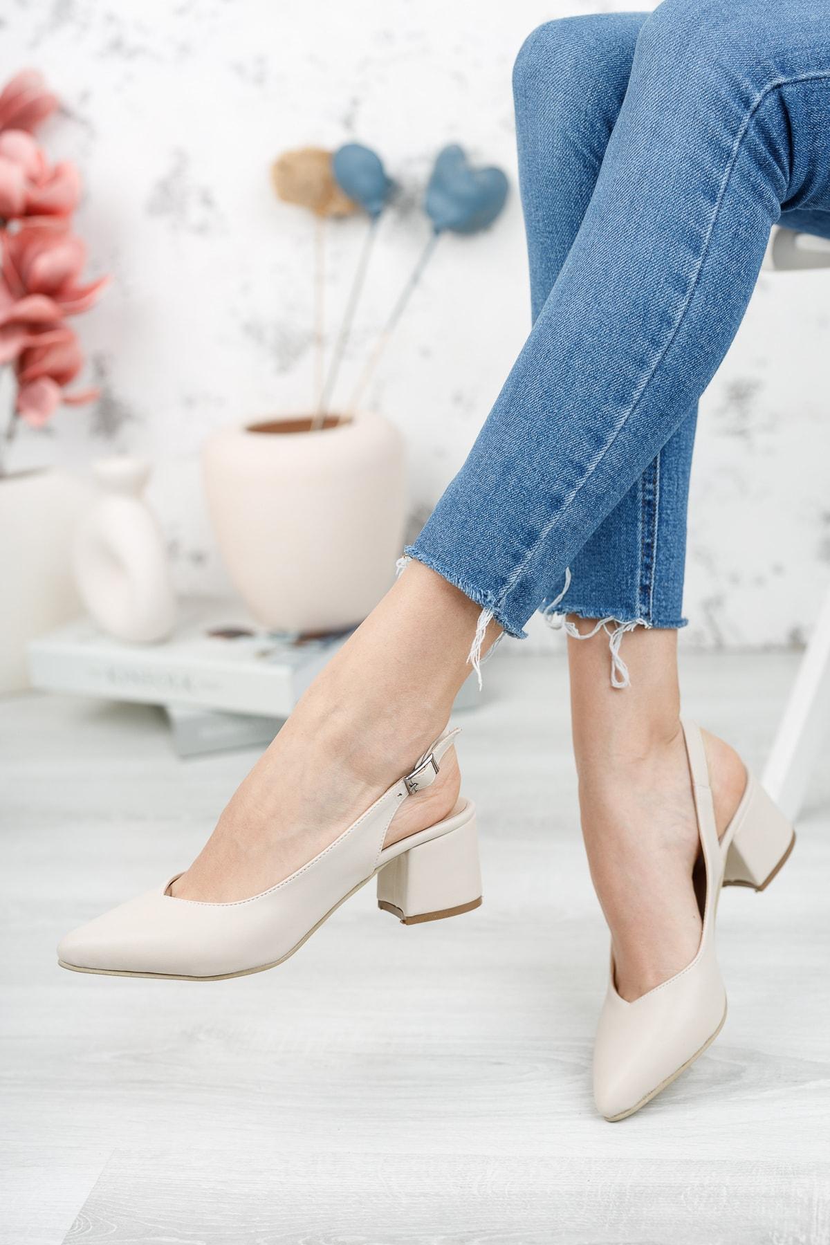 Tara; Bej Cilt, Arkası Açık, Klasik Topuklu Ayakkabı