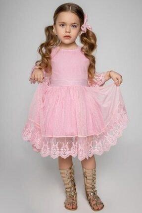 Riccotarz Kız Çocuk Prenses Güpürlü Pudra Elbise 0