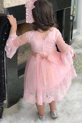Riccotarz Kız Çocuk Prenses Güpürlü Pudra Elbise 2