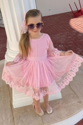 Riccotarz Kız Çocuk Prenses Güpürlü Pudra Elbise 3