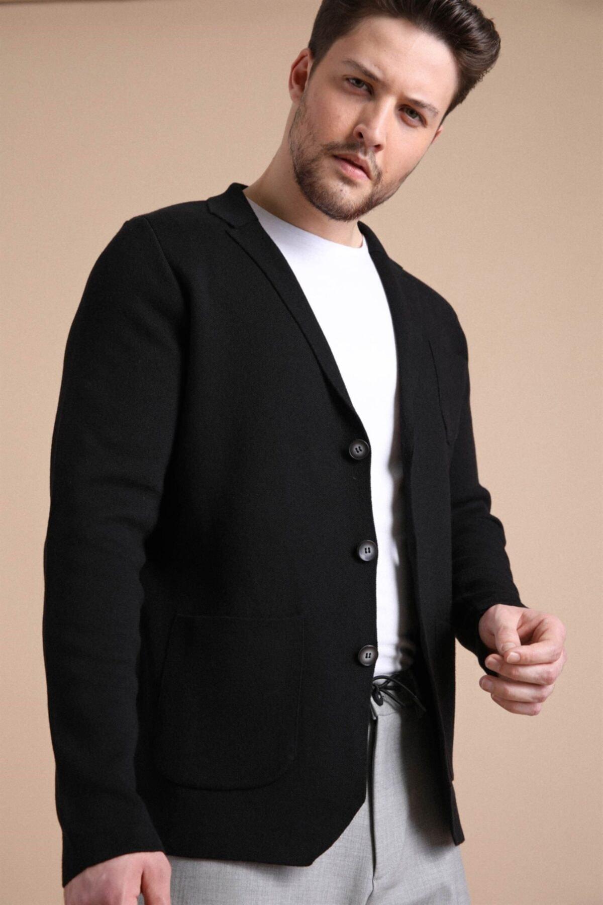 Erkek Siyah Üç Düğmeli İnce Pamuk Triko Ceket