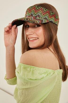 Y-London Missoni Desenli Yeşil Hasır Vizör Şapka 14073 1