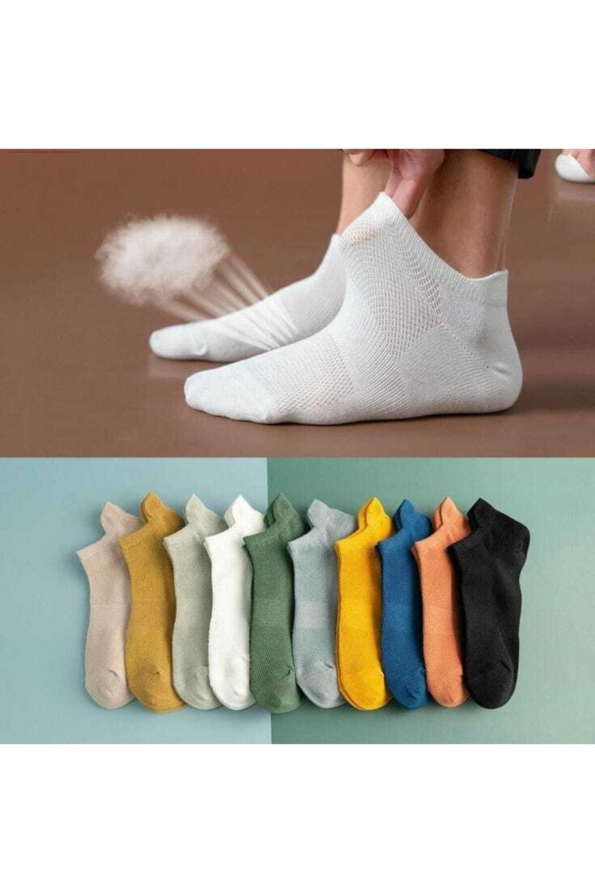 Patik Çorap Karışık Renkli 10 Çift
