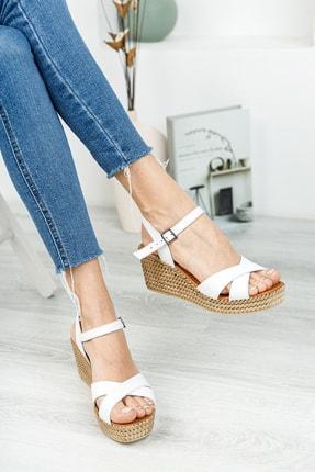 Deripabuc Hakiki Deri Beyaz Kadın Dolgu Topuklu Deri Sandalet DP55-2627 2
