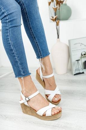 Deripabuc Hakiki Deri Beyaz Kadın Dolgu Topuklu Deri Sandalet DP55-2627 4