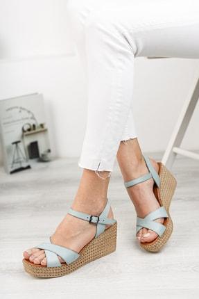 Deripabuc Hakiki Deri Mavi Kadın Dolgu Topuklu Deri Sandalet Dp55-2627 1