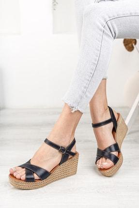Deripabuc Hakiki Deri Lacivert Kadın Dolgu Topuklu Deri Sandalet Dp55-2627 0