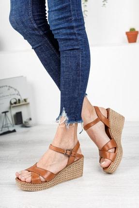 Deripabuc Hakiki Deri Taba Kadın Dolgu Topuklu Deri Sandalet Dp55-2627 2