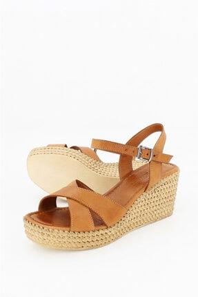 Deripabuc Hakiki Deri Taba Kadın Dolgu Topuklu Deri Sandalet Dp55-2627 3