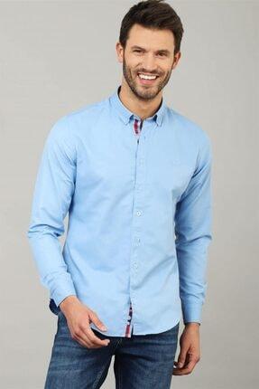 Tudors Slim Fit Düz Mavi Spor Erkek Gömlek 0