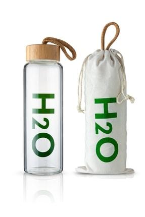 Selenica Bambu Kapaklı Bez Kılıflı H2o Borosilikat Cam Matara 600ml 0