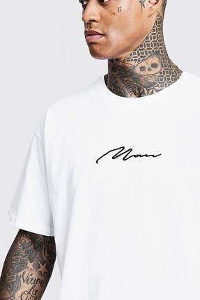 Oksit Man Imza Detaylı Oversize T-shirt 0