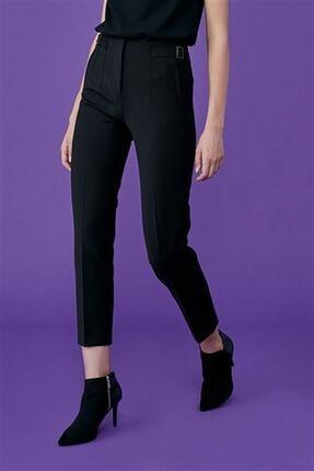 Journey Kadın Siyah Pervaz Kemer Üstü Apolet Ve Toka Detaylı, Dar Paça Pantolon 0