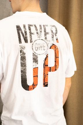 wamoss Erkek Beyaz Oversize Never Give Up T-shirt 2
