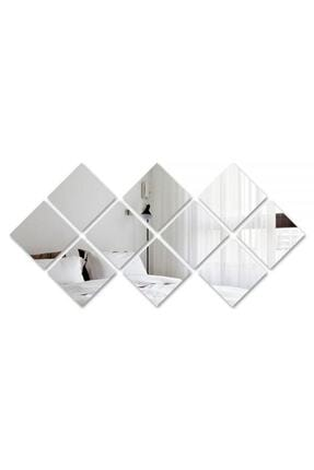GİZEM SHOP Dekoratif Kare Pleksi Ayna Gümüş 2