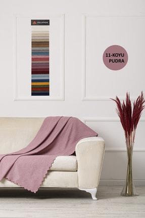 VELERDE HOME Koyu Pudra Velerde Şönil Çift Taraflı Çekyat Koltuk Örtüsü Şalı 22 Renk 1