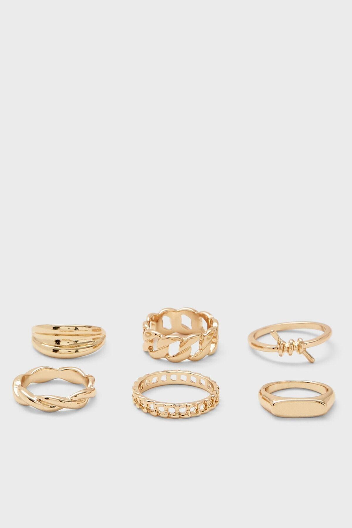 6'lı Düğüm Yüzük Seti Altın Rengi