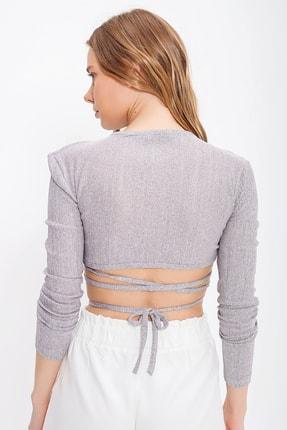 Trend Alaçatı Stili Kadın Gri Kruvaze Yaka Bağlamalı Crop Bluz ALC-X6059 3