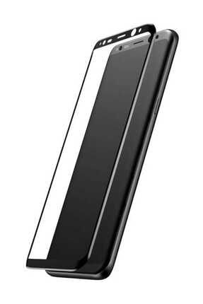 Baseus Galaxy S8 Plus 0,3mm 3D Kavisli Cam Ekran Koruyucu Siyah 0