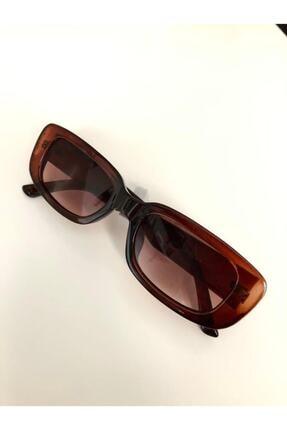 LOOKUP Kadın Kahverengi Kare Dikdörtgen Vintage Retro Güneş Gözlüğü 1