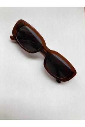 LOOKUP Kadın Kahverengi Kare Dikdörtgen Vintage Retro Güneş Gözlüğü 3