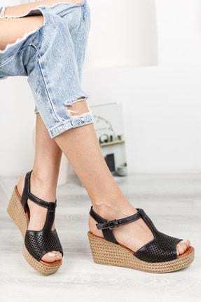Deripabuc Hakiki Deri Siyah Kadın Dolgu Topuklu Deri Sandalet Dp55-2626 1