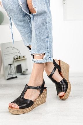 Deripabuc Hakiki Deri Siyah Kadın Dolgu Topuklu Deri Sandalet Dp55-2626 2