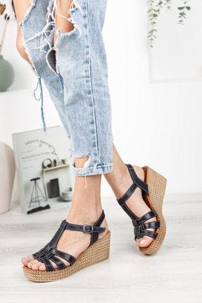 Deripabuc Hakiki Deri Siyah Kadın Dolgu Topuklu Deri Sandalet Dp55-2617 2