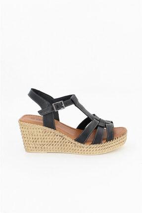 Deripabuc Hakiki Deri Siyah Kadın Dolgu Topuklu Deri Sandalet Dp55-2617 3