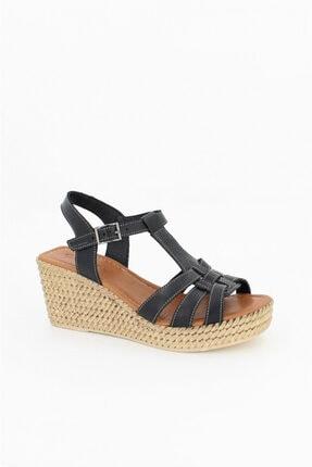 Deripabuc Hakiki Deri Siyah Kadın Dolgu Topuklu Deri Sandalet Dp55-2617 4