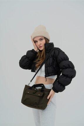 Shule Bags Kabartmalı Puf Kumaş Çapraz Çanta Palermo Haki 1
