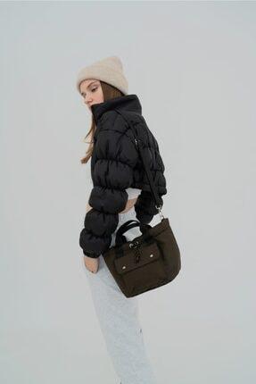 Shule Bags Kabartmalı Puf Kumaş Çapraz Çanta Palermo Haki 2