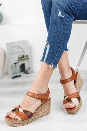 Deripabuc Hakiki Deri Taba Kadın Dolgu Topuklu Deri Sandalet Dp55-2637 0