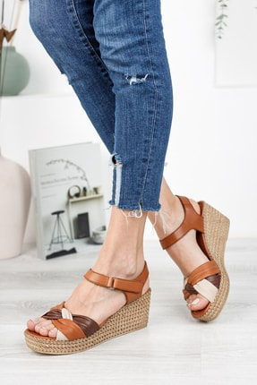 Deripabuc Hakiki Deri Taba Kadın Dolgu Topuklu Deri Sandalet Dp55-2637 2