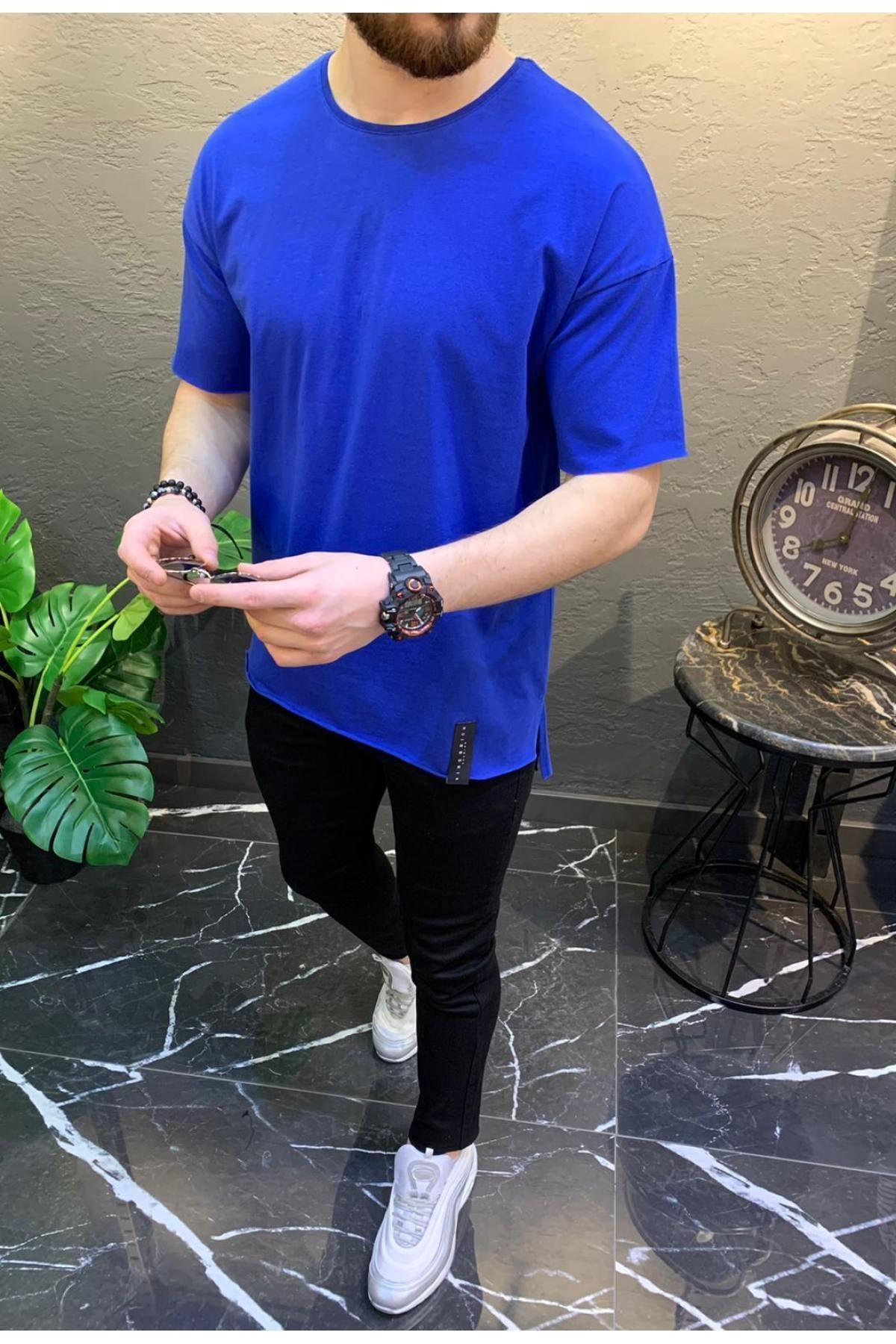 Yarım Oversize Yırtmaç Etek Pamuklu Kısa Kol Basic Saks T-shirt